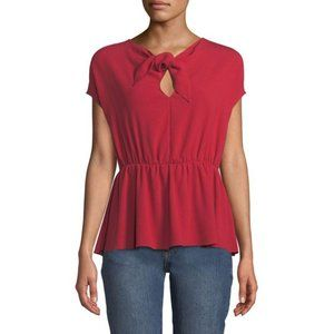 Co Tie Neck Crepe Blouse Red